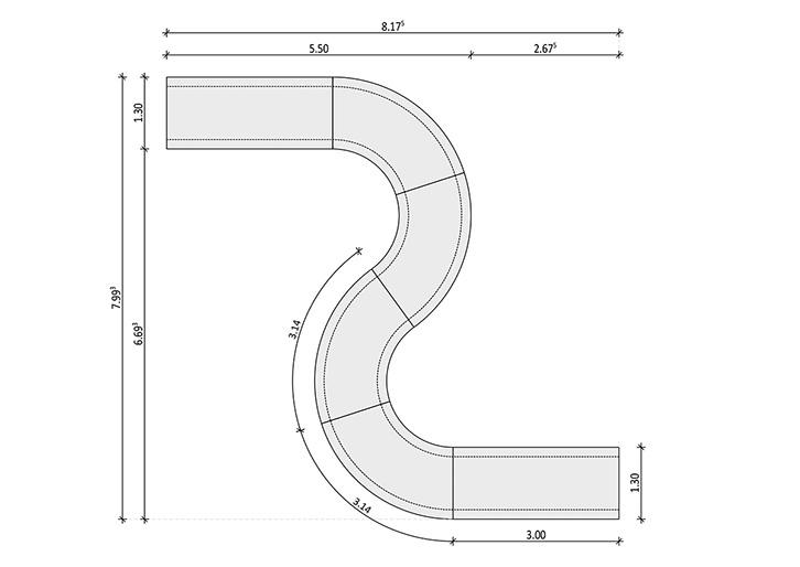 Nova - Concrete-bench Technical drawing