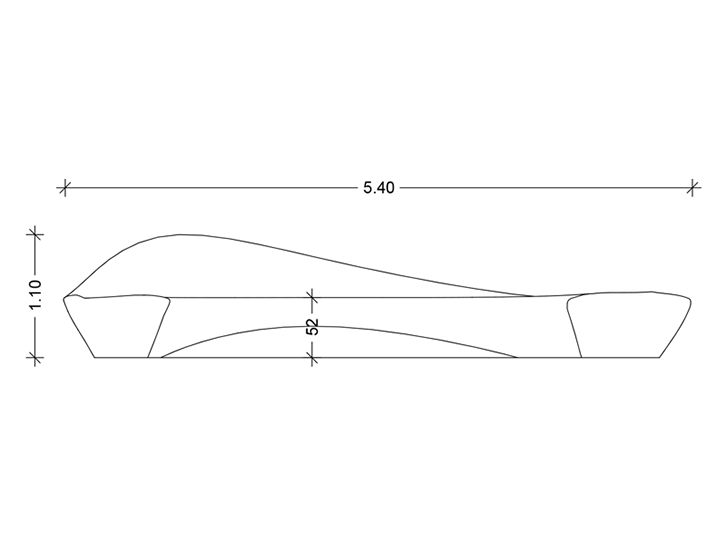 Boomer One Concrete-bench Technical drawing