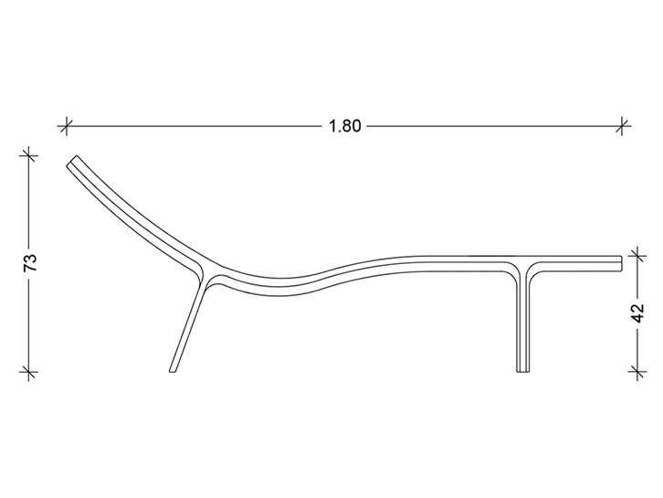 Lounger - Concrete-couche Technical drawing