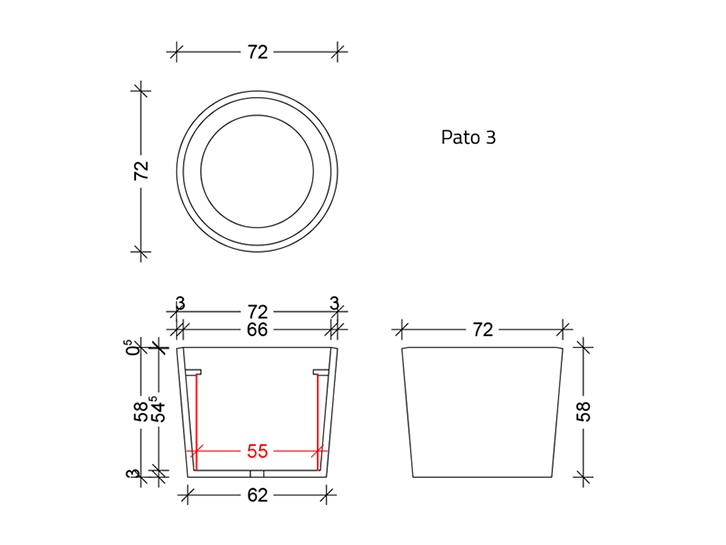 Pato - Flower tub made of concrete Technical drawing
